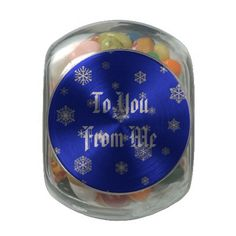 Customizable Holiday Tin Filled with Candy Glass Candy Jar