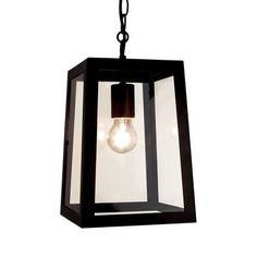 Designed with a classic lantern-style glass shade, our black ceiling light fitting features clear glass panels and a thick black frame....