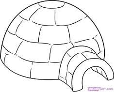 How To Draw An Igloo, Step by Step, Drawing Guide, by Dawn Painting For Kids, Drawing For Kids, Igloo Drawing, Feuille A3, Igloo Building, Winter Drawings, Christmas Tree Drawing, Felt Puppets, Online Drawing