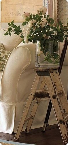 Old ladders are great to reuse around the house in so many ways and they come in different sizes which gives you even more options!