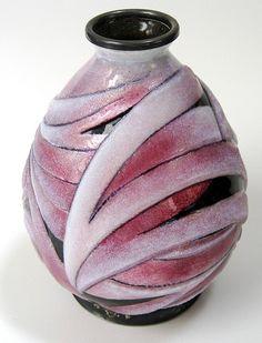 art deco copper vases   Camille Faure French Art Deco Ceramic Vase. Red Enamel. @ ...