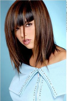 Chestnut Brown Shoulder Length Cut with Bangs