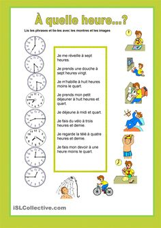 À quelle heure...? Horaires et routine - Passion FLE French Language Lessons, French Language Learning, French Lessons, French Flashcards, French Worksheets, French Teacher, Teaching French, French Revision, French Poems