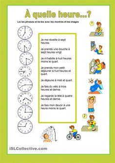 À quelle heure...? Horaires et routine