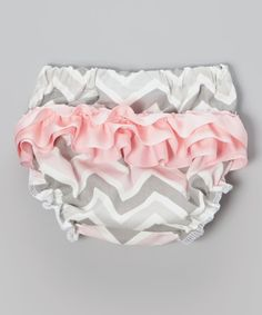 Look at this Caught Ya Lookin' Pink & Gray Zigzag Ruffle Diaper Cover - Infant on #zulily today!
