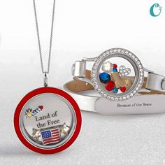 #Patriotic themed #locket from #OrigamiOwl. Land of the FREE because of the BRAVE! Shop - Host - Join www.keller.origamiowl.com #Military #USA #AmericanFlag