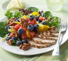 Blueberry, Watermelon and Walnut Salad with Grilled Chicken