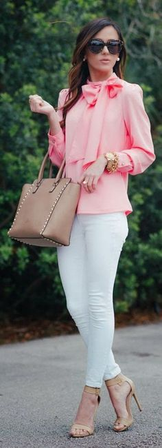 Pink And Pearls Outfit Idea by Sequins & Things. Pink And Pearls Outfit Idea by Sequins & Things. Work Fashion, Street Fashion, Fashion Looks, Fashion Edgy, Office Fashion, Runway Fashion, Latest Fashion, Office Outfits, Casual Outfits