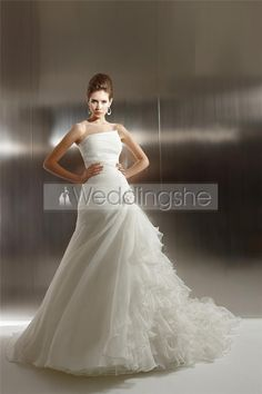 Charming A-line Strapless Floor-Length Chapel Pick-up & Ruched Wedding Dresses(Free Shipping)