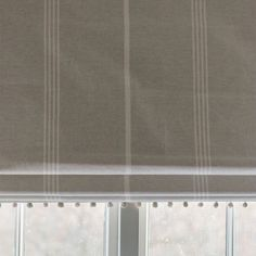 thick weave cotton in Grey and Ivory Oxford Stripe. Double width fabric, suitable for curtains, blinds and upholstery. Living Room Blinds, House Blinds, Blinds For Windows, Window Blinds, Bay Window, Grey Roman Blinds, Sheer Blinds, Roman Shades, Blackout Blinds