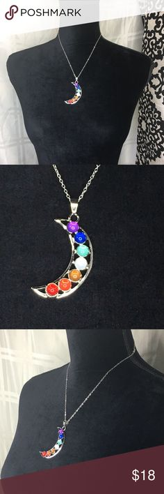 """Moon Necklace Beautiful silver toned moon necklace. 18"""" chain. Pendant is 2"""". New in package. Jewelry Necklaces"""