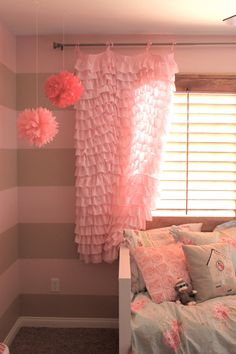 Perfectly Pink Ruffled Waterfall Curtain by SelahJamesHandmade, $85.00 tied with bow in middle for more polished look