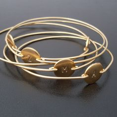 Personalized Bracelet, Custom Initial Bangle Bracelet, Gold Monogram Jewelry, Initial Jewelry, Gold Monogram Bracelet, Personalized Jewelry