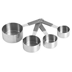 Their dinky dimensions will ensure accurate measuring – the key for successful baking. Made from stainless steel with soft-grip handles.    Cat Ref: SKU16474    Measure in American cups – 1 (250ml), ½ (125ml), 1⁄3 (80ml) and ¼ (60ml).