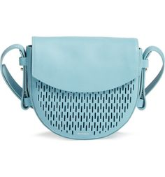 This sky blue polished leather saddle bag provides a modern take on the classic handbag with sleek perforations and clean curves