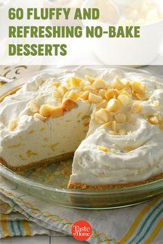 You'll own summer menus when these easy desserts pop up after dinner. No Bake Summer Desserts, Cold Desserts, Just Desserts, Mini Desserts, Summer Recipes, Icebox Desserts, Potluck Desserts, No Cook Desserts, Beach Dessert