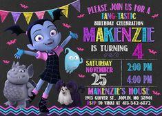 Vampirina Invitation Vampirina Birthday Vampirina Party Girl Birthday Themes, 4th Birthday Parties, 3rd Birthday, Birthday Ideas, Disney Junior Birthday, Vampire Party, Party Invitations Kids, Halloween Birthday, Childrens Party