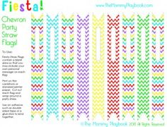 Chevron Party Straw Flags