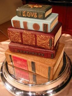 Book Cake - library themed wedding
