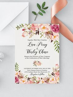 440b7545a7b Floral Wedding invitation Suite - Printable Boho Wedding Invites - Custom Wedding  Invitation Cards - Rustic Wedding Invitation Template