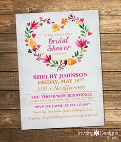 Bridal Shower Invitation, Watercolor, Floral, Spring, Summer, Pink, Orange, Yellow, Flowers, Retro, Vintage (PRINTABLE FILE) by InvitingDesignStudio on Etsy