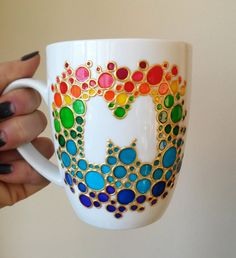 pottery painting designs Items similar to Ceramic mug rainbow gift, painted unique coffee mug, funny coffee mug, rainbow bubbles coffee mug on Etsy Custom Personalized Glass Painting Designs, Pottery Painting Designs, Dot Art Painting, Ceramic Painting, Painting Patterns, Rainbow Painting, Bottle Art, Bottle Crafts, Mandala Art