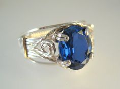 Sapphire and silver wire wrapped ring by GemfireWire on Etsy, $75.00