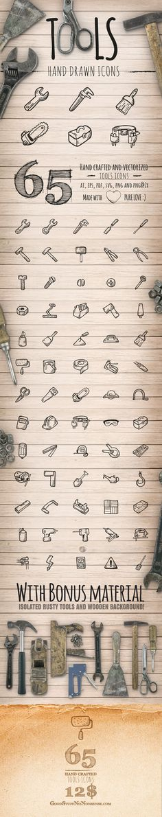 65 Tools Icons by Agata Kuczminska