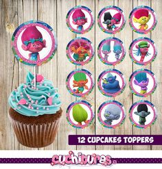 12 Trolls Cupcakes Toppers instant download by TusCuchituras