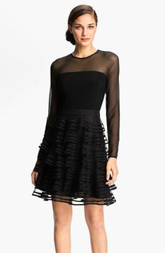 all the styles I like are only in size TWO and Black....Kathy Hilton Sheer Sleeve Tiered Mesh Dress available at #Nordstrom