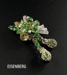 e562eff0b EISENBERG Signed Brooch Vintage Eisenberg Pin Green Rhinestones and Clear  Pave Rhinestone Brooch * Pave Missing Rhinestones