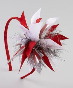 Red & Silver Sparkle Bow Headband by Picture Perfect Hair Bows on #zulily