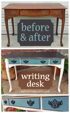 Writing Desk in distressed Black, Off White and Sea Blue ~ Before and After from the Facelift Furniture DIY Blog.
