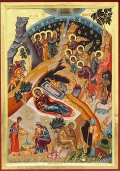 Religious icon of Nativity.It is a hand painted copy from Byzantine Museum of Athens