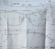 Technical drawing for my bespoke Tom Davies frames. Thank you, Ulla Eyewear!