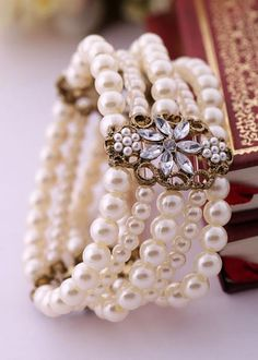 Pearl Women's Multi-Layer Elastic Bracelet for $15.50 at trendysgear.com