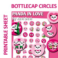 Cute Panda in 1 inch circls! These images are perfect for any craft projects such as bottle cap pendants, badge pin buttons, glass pebble magnets, small cupcake toppers, stickers, baby shower party labels, etc.