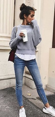 #spring #outfits gray sweater. Pic by @fashionative