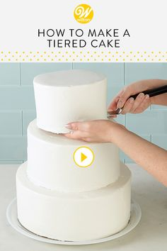 Watch and learn everything you need to know to stack a tiered cake! Stacking a cake is the best way to ensure your tiered cake is secure. In this video, we will show you an easy way to stack a tiered cake even if you're a beginner cake decorator. Cake Decorating For Beginners, Easy Cake Decorating, Cake Decorating Techniques, Cake Decorating Tutorials, How To Stack Cakes, How To Make Cake, Cake Icing, Cupcake Cakes, Wedding Cake Frosting