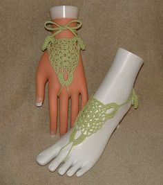 Free Beaded Slave Bracelet Patterns | Crochet Barefoot Sandals / Slave Bracelets /Eyelet Design in Bright ...