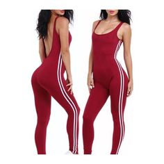 Rotita Open Back Scoop Neck Red Jumpsuit ($20) ❤ liked on Polyvore featuring jumpsuits, wine red, open back jumpsuit, sleeveless jumpsuit, red jump suit, red sleeveless jumpsuit and jump suit