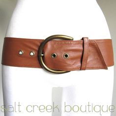 ultra soft, buttery, thin, genuine leather, wide, brass buckle, cinch, hip, vintage, grommets, caramel, saddle, british, tan, brown, boho, hippie, western style belt. available now at Salt Creek Boutique on eBay!