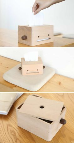 Solid Smiley Face Wood Tissue Box
