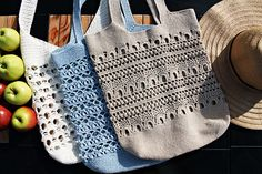 Beige Crochet Tote Bag Market Tote Shopping Bag Boho