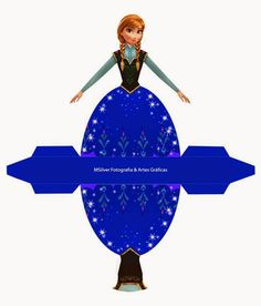 Anna from Frozen: Free Printable Dress Shaped Box. Disney Frozen Party, Frozen Birthday Party, Disney Princess Birthday, Frozen Free, Princess Cupcake Toppers, Disney Paper Dolls, Disney Crafts, Paper Toys, Paper Crafts