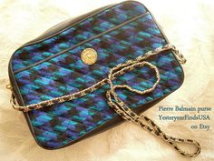Pierre Balmain purse - blk leather-quilted material-blue purple green pattern - original papers - serial number - ships from  USA