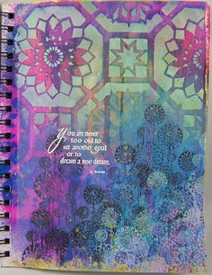 Art By Wanda: Journal Page.  Wanda's gorgeous journal page uses #Quietfire rubber stamp You Are Never Too Old which can be found here: http://www.quietfiredesign.ca/product.php?productid=1187==1