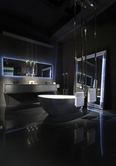 If you need luxury and modern black bathroom design ideas, you can find what you are looking for on this page. Our design gallery consisting of 11 photos is waiting for you. Home Room Design, Dream Home Design, Modern House Design, Dream House Interior, Luxury Homes Dream Houses, Black Interior Design, Luxury Interior, Bathroom Design Luxury, Dream Bathrooms