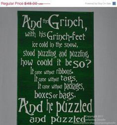 JingleJangle Holiday Sale Grinch Sign,Fun, Expressive Word Canvas, wall decor,Christmas and Holiday, Dr.Seuss wall art