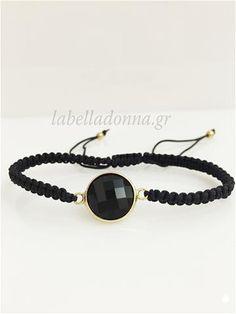 Labelladonna.gr - Μακραμέ βραχιόλι με μάυρη πέτρα 9050a39f808